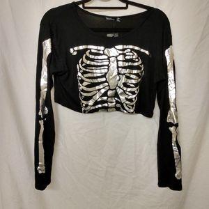 Boohoo Skeleton crop top NWT